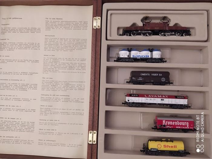 """Trix N - Train set - with e-loc Ce 6/8 """"Krokodil"""" and 5 freight wagons in wooden box - SBB-CFF"""