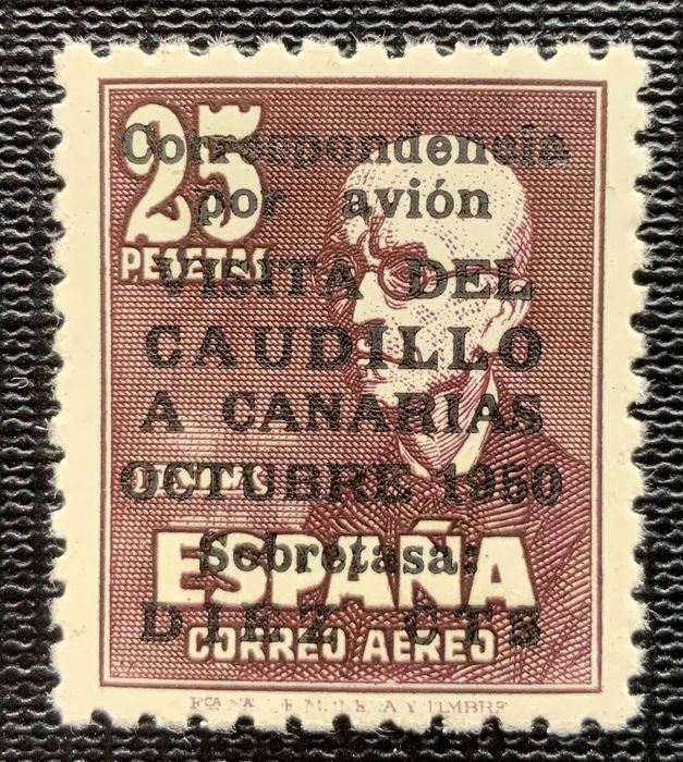 Spain 1951 - Canary Islands airmail with number - well centred - Edifil 1090