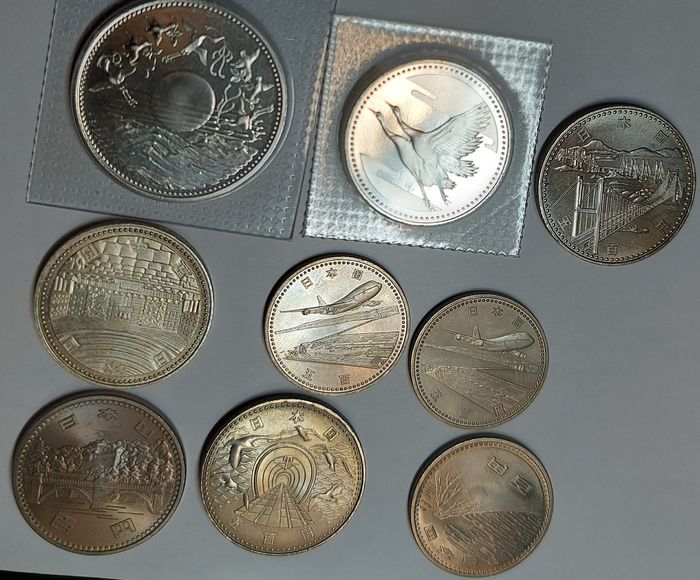 Japan. Collection of 9 commemorative coin. 1970-1994 (include 3 silver coins)