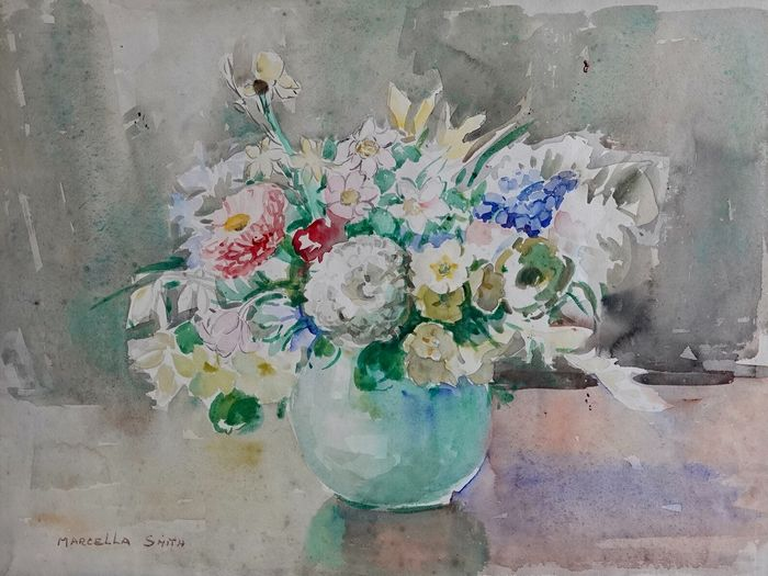 Marcella Smith (1887-1963) - A still life of flowers in a green vase