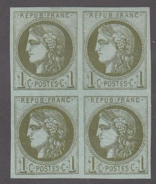 France - Bordeaux issue - 1 centime olive in block of 4, mint*/** signed - superb. - Yvert 39B