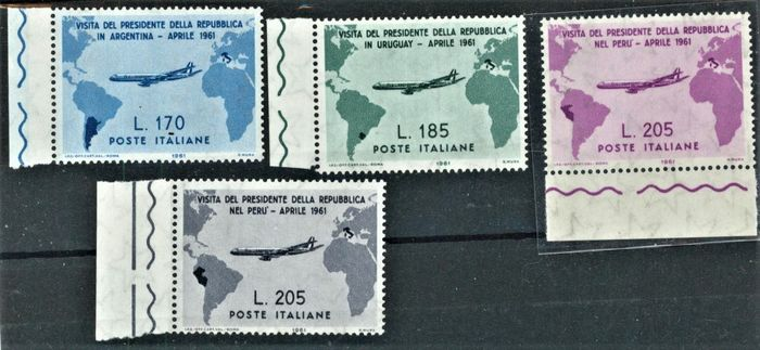 Italy Republic 1961 - Gronchi set with 205 lire pink