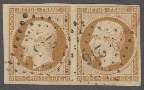 France - Republic - 10 centimes bistre, in signed pair - superb - Yvert 9