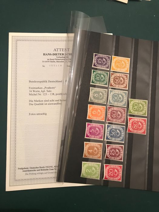 Germany - Federal Republic 1951 - Post horn with certificate by Schlegel BPP - OBP / COB 123/138