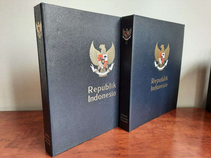 Indonesia 1949/1986 - Far advanced collection with better denominations + more expensive blocks in two DAVO Cristal albums - NVPH