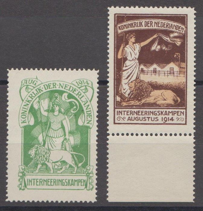 Netherlands 1916 - Internment camp stamps - NVPH IN1 + IN2