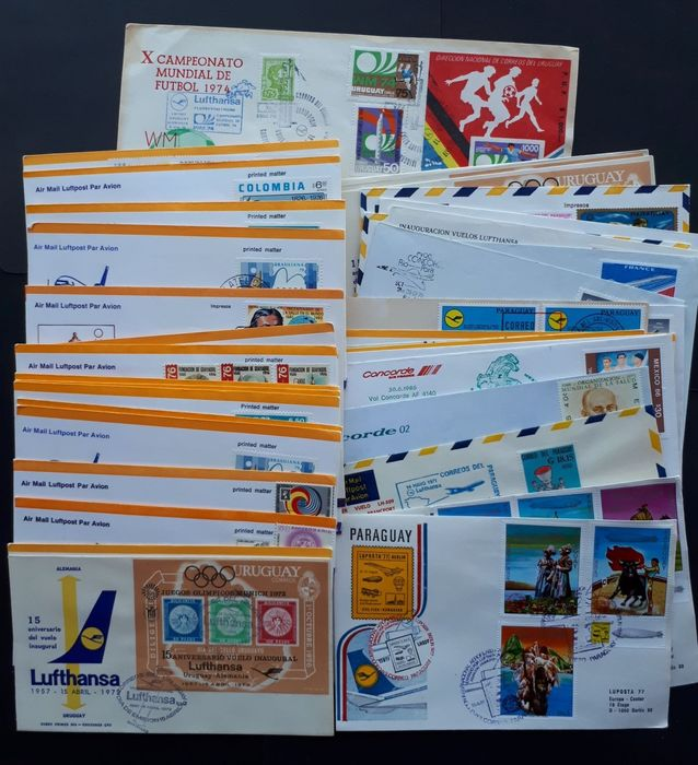 South America - 44 x airmail letters, ca. 1950-1980 Lufthansa Concorde