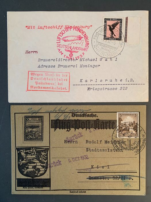 Empire allemand - 2 zeppelin/air mail documents 1937/38