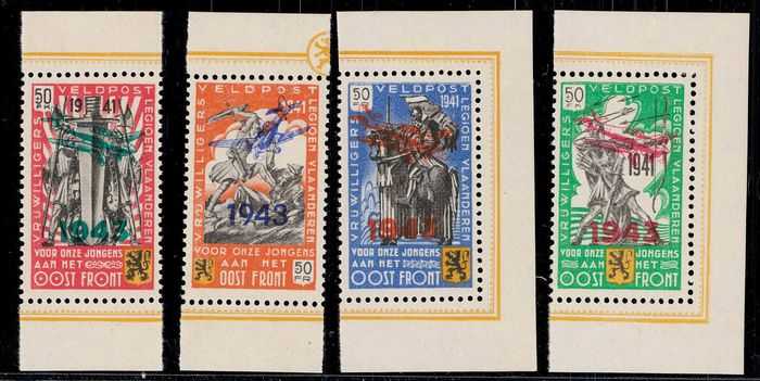 Occupation issues World War II Belgium Flemish Legion 1942/1943 - 2 better sets in MNH state of conservation - Michel V-VIII,XXI-XXIV