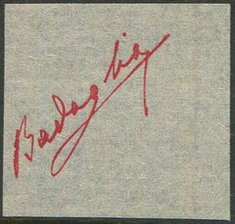 Italië 1943 - Proof of signature of Badoglio in carmine red on ivory paper - CEI N. PS3