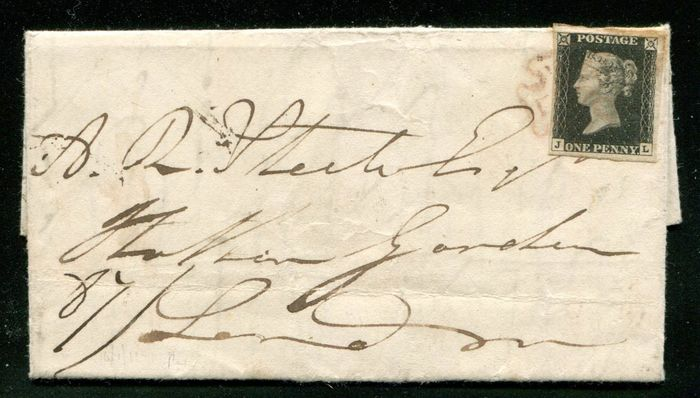 Great Britain 1840 - Lovely penny black on a complete letter with brown-orange Maltese cross - Stanley Gibbons 2