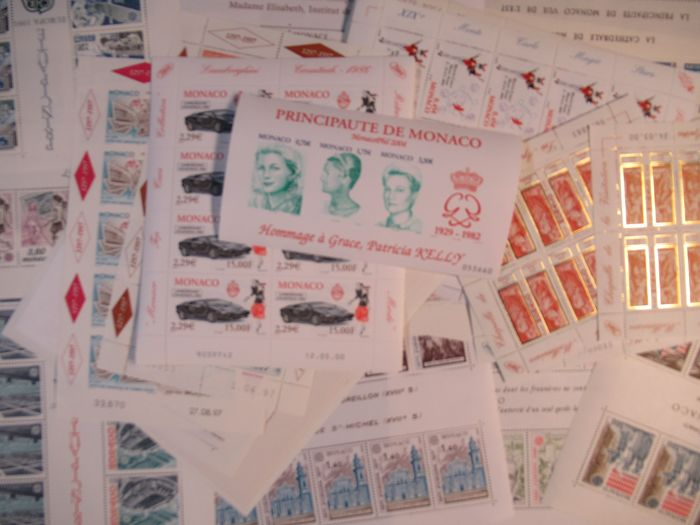 Monaco - blocks and minisheets ,45 different ones with Euro nominale