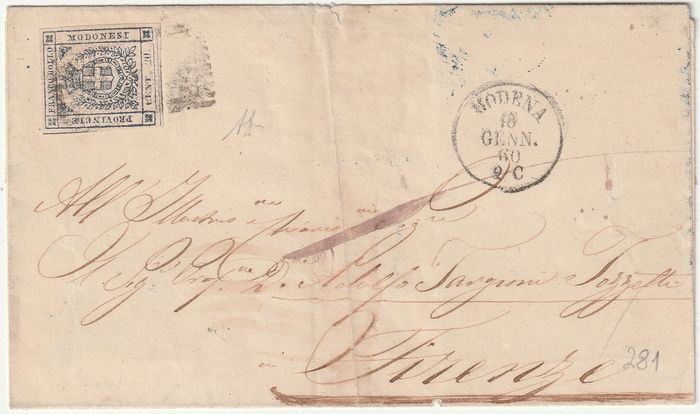 Anciens états italiens - Modène 1860 - Provisional Government 20 c. with very good margins on cover from Modena to Florence, rare, with - Sassone N.15