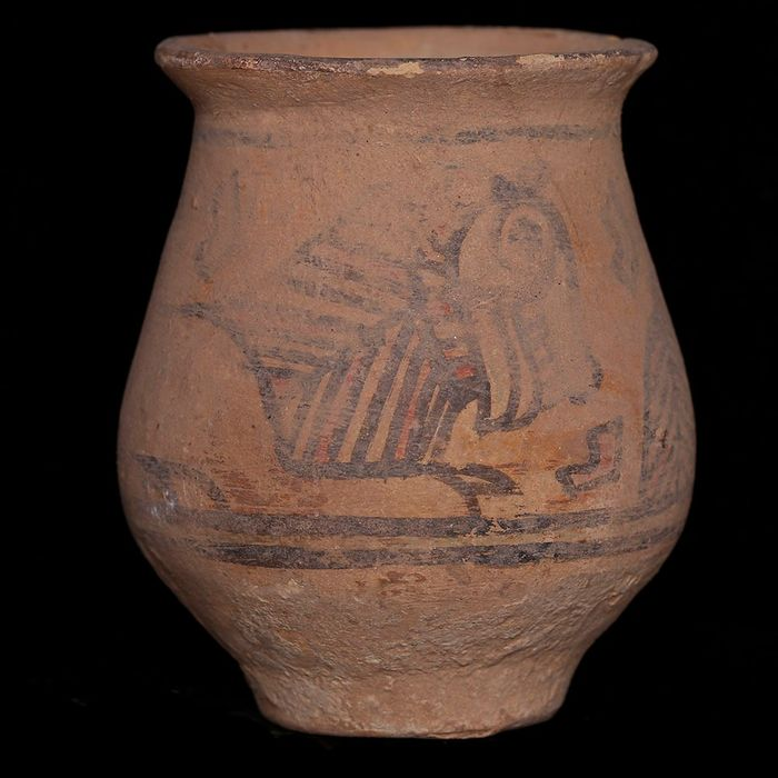 Indus Valley Terracotta Jar with Painted Animals