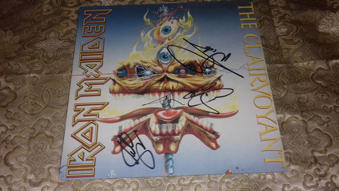 "Iron Maiden - The Clairvoyant. AUTOGRAPHED . Steve Harris, Adrian Smith, Nico McBrain & Dave Murray - Maxi Single 12""inch - 1988/1988"