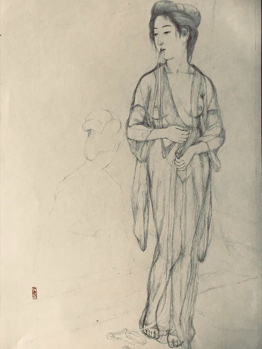 """Litografia - Carta - Hashiguchi Goyo (1881-1921) - Graphite on Paper Sketch 16 from the series """"Collection of Sketches of Beauties"""" - Giappone - 1976"""