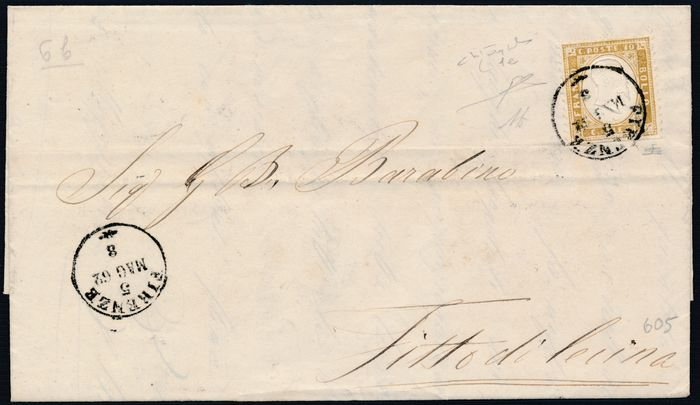 Royaume d'Italie 1862 - 10 c. bistre olive imperforated at the bottom on letter from Florence to Fitto di Cecina - Sassone N. 1e/k