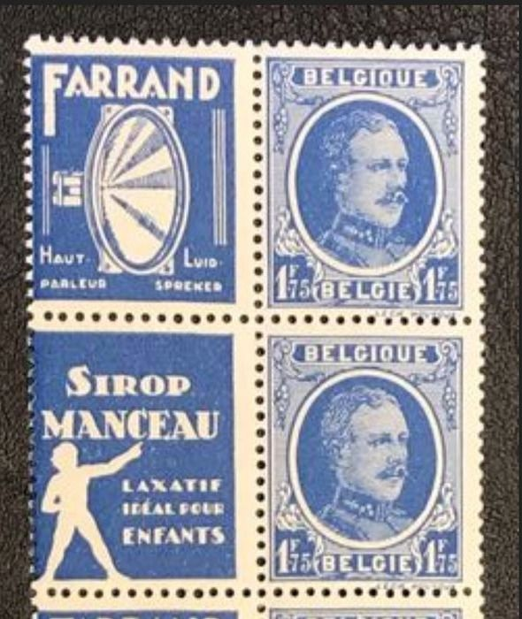 Belgien 1923/1937 - Advertising stamps Houyoux, Ceres, Leopold III, Heraldieke lion in sheet parts - OBP / COB PU3+4 ex PU59-62 PUc9 + PUc12   KT16 + PUc73