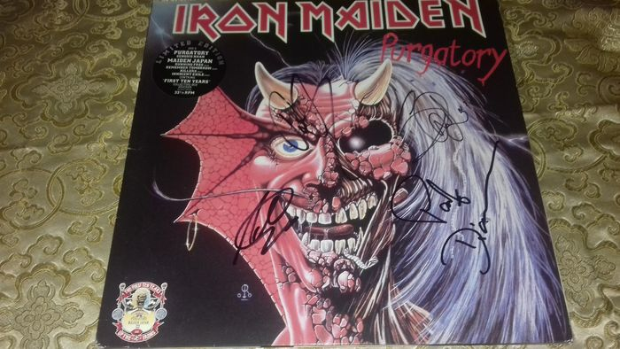 """Iron Maiden - """"Purgartory"""". AUTOGRAPHED (certificated). Paul Di' Anno, Steve Harris. Adrian Smith & Dave Murray - Maxi single 12""""inch - 1990/1990"""