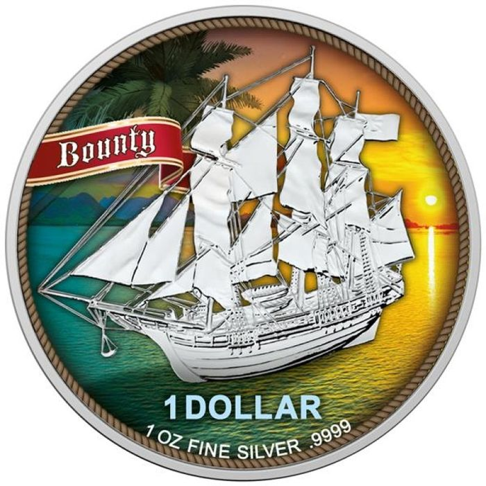 "Islas Cook. 1 Dollar 2020 - ""Bounty - Sunset"" -  colorized with COA  - 1 Oz"