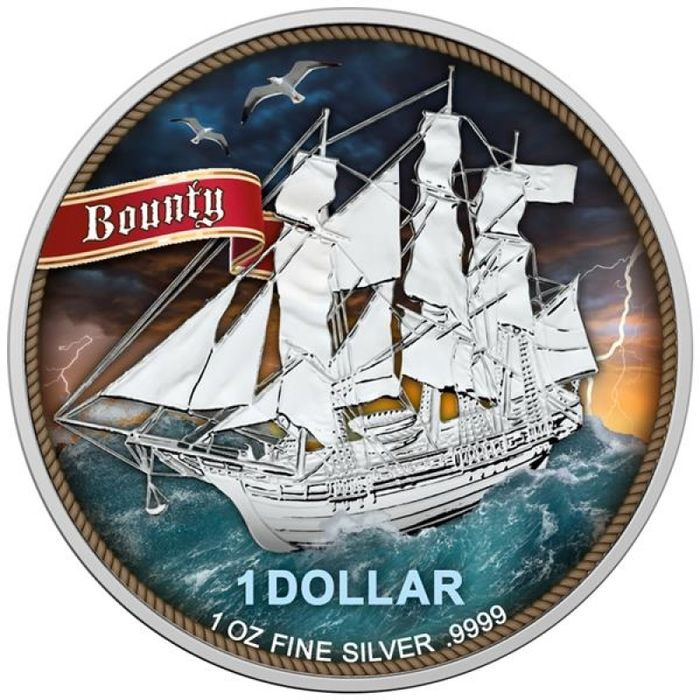 "Îles Cook. 1 Dollar 2020 - ""Bounty - High Seas"" -  colorized with COA  - 1 Oz"