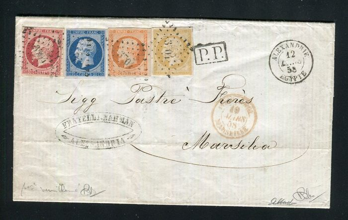 Frankrijk 1858 - An extremely rare letter from Alexandria with triple postage and the No. 13Aa, 14A, 16 & 17Ad,