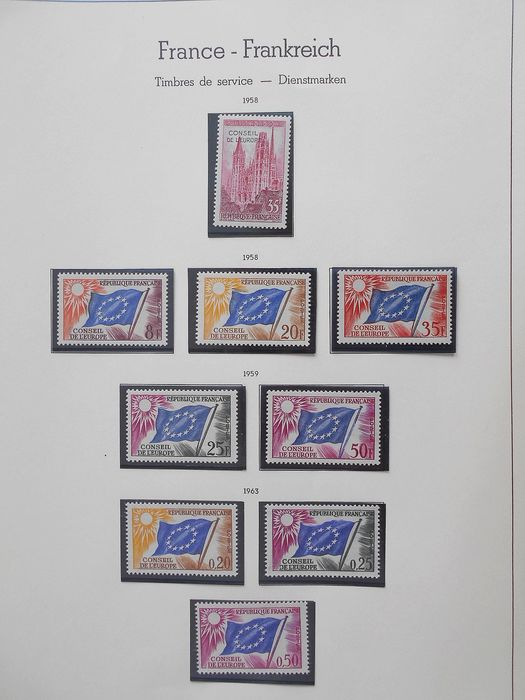 Frankreich 1958/1996 - Collection of stamps: official, Council of Europe, UNESCO... - Yvert Entre les n°16 et 117