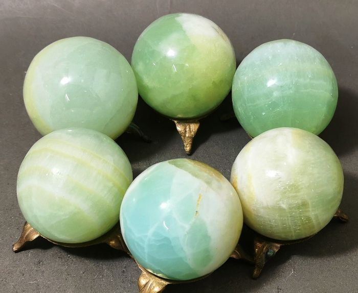 Blue Green Natural Calcite Sphere - 55×55×55 mm - 1162 g - (6)