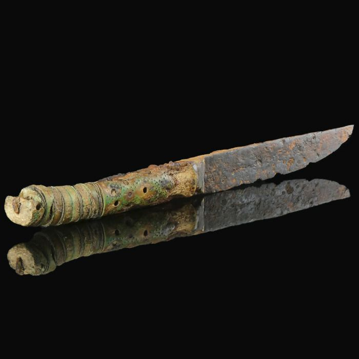 Medieval Iron Viking iron knife with decorated bone grip