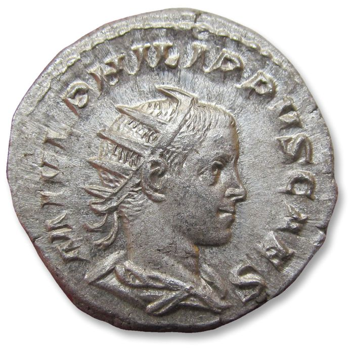 Roman Empire. Philip II as Caesar. AR Antoninianus,  Rome mint AD 244-247 - PRINCIPI IVVENT, variety with emperor standing RIGHT
