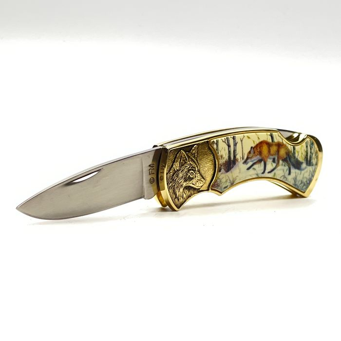 Franklin Mint, National Fish and Wildlife Foundation - Collector Knife - Wildlife Collection by Rick Fields Sportsman - Fox - .999 (24 kt) goud, Leder, Staal (roestvrij), Metaal