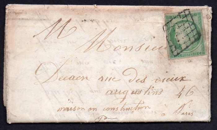 Frankreich 1851 - Ceres, 15 centimes light green, grid postmark on letter bound for Paris with correspondence. - Yvert n°2a