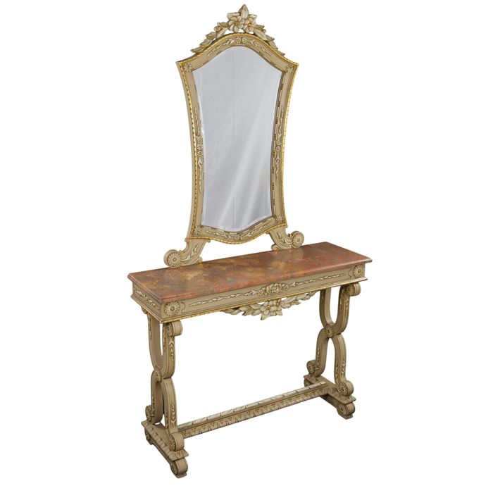 Console / dressing table and mirror lacquered, with marble - Marble, Wood - 20th century