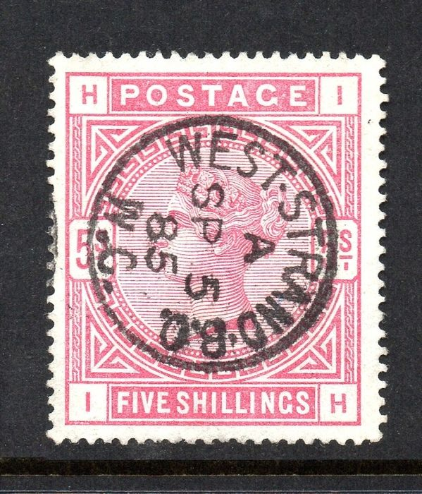 Great Britain - 1884 QV 5/- Rose On Blued Paper - Stanley Gibbons SG176