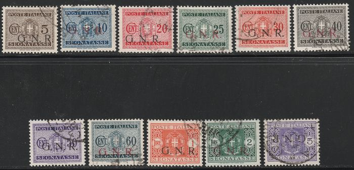Republican National Guard 1944 - Postage due Brescia issue complete set, used and very rare, certified - Sassone S.2308 - NN.47/I-59/I