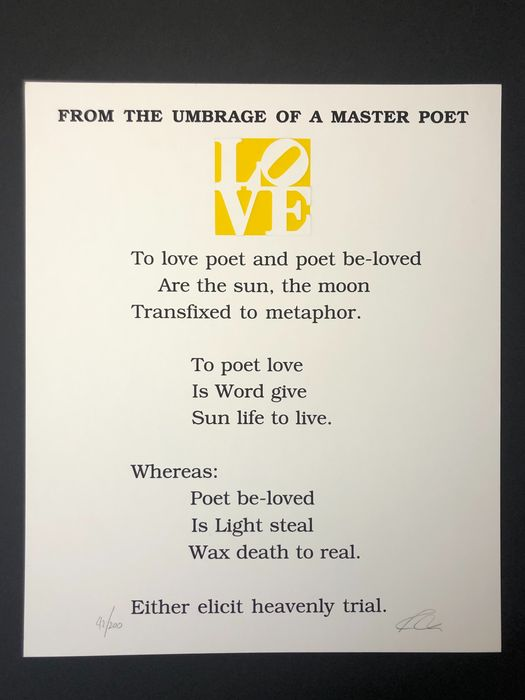 Robert Indiana (1928-2018) - From the umbrage of a master poet