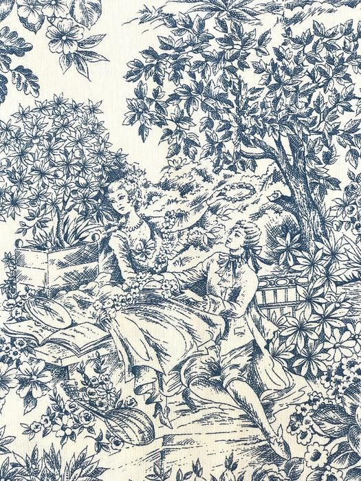 6 meters x 1.40 meters beautiful ink blue Toile de Jouy cretonne fabric with pastoral skits - Cotone - 21° secolo