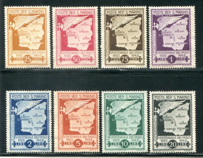 San Marino 1943 - Airmail, not issued, set of 8 values (without gum) - Sassone PA26/33