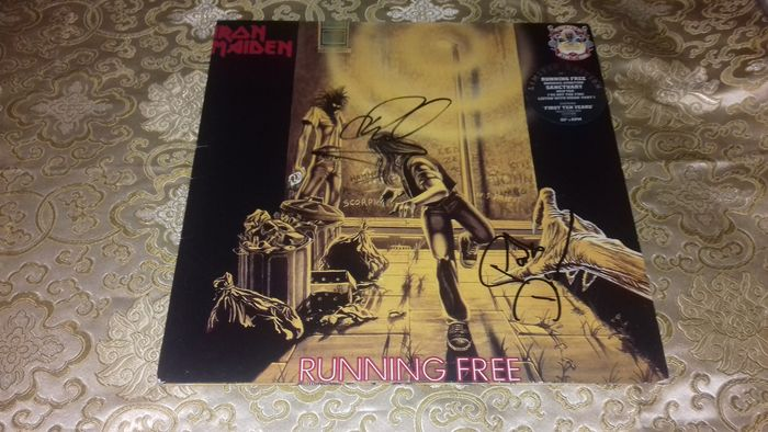 """Iron Maiden - Running Free """"First Ten Years"""" Edition. Autographed (Certificated). Paul Di'anno & Dave Murray - Maxi Single 12"""" - 1990/1990"""