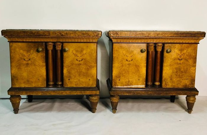 Empire style bedside tables (2) - Wood - First half 20th century