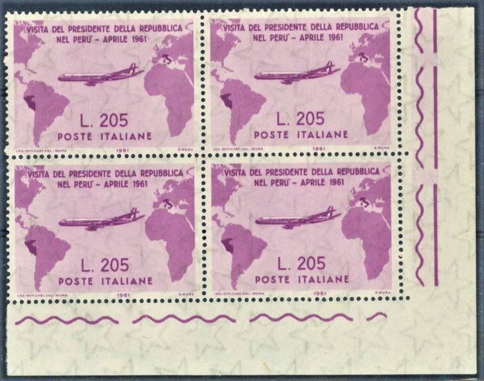 Italië Republiek 1961 - Gronchi Rosa 205 lire, block of four with sheet corner (and 3 blocks that complete the set) - Sassone N. 921