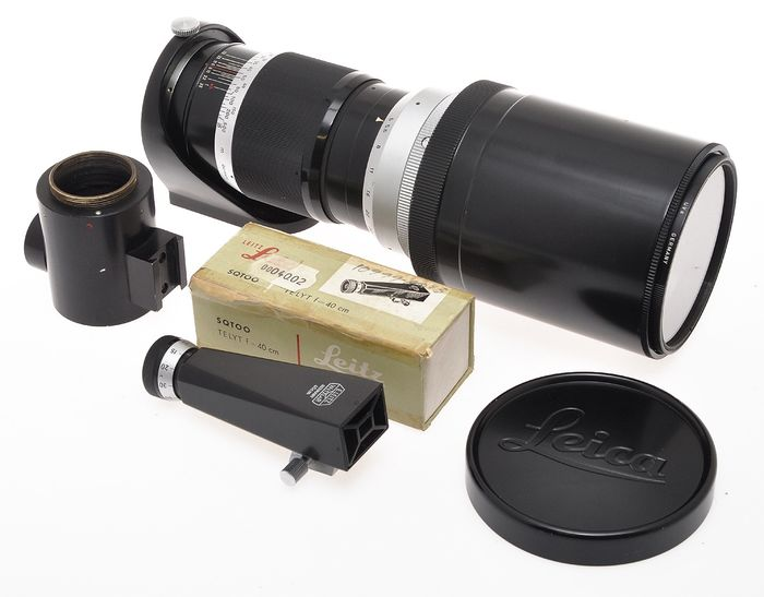 Leitz nice set of tele lens Leica 400/5 400mm F:5 Telyt attached hood with finder SQTOO exc++ c.1959