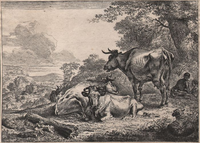 Nicolaes Pietersz. Berchem - Resting cows - Early state before signature - Important collection