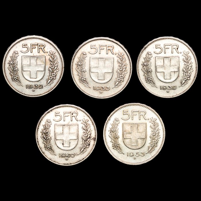 Switzerland. 5 Francs 1932-1953 B Bern, 5 Coins