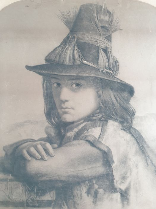 Roman School, XIX century - Portrait of a Young Man with Hat