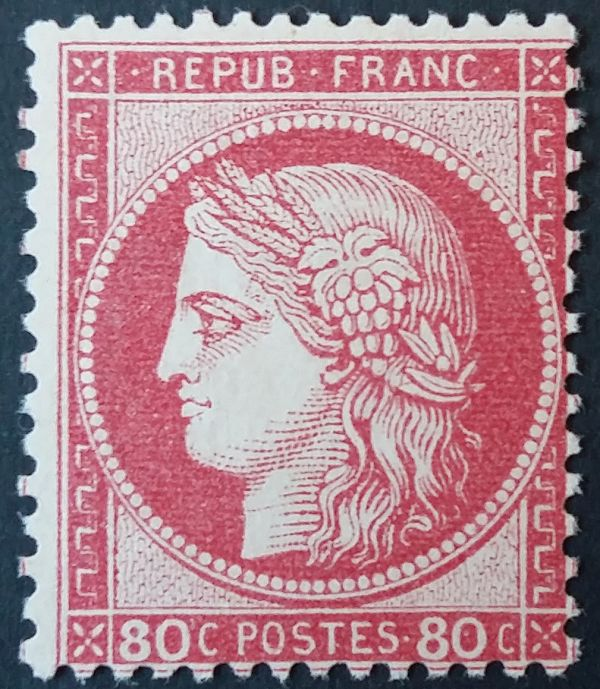 France 1872 - Ceres, perforate, 80 centimes pink. - Yvert 57