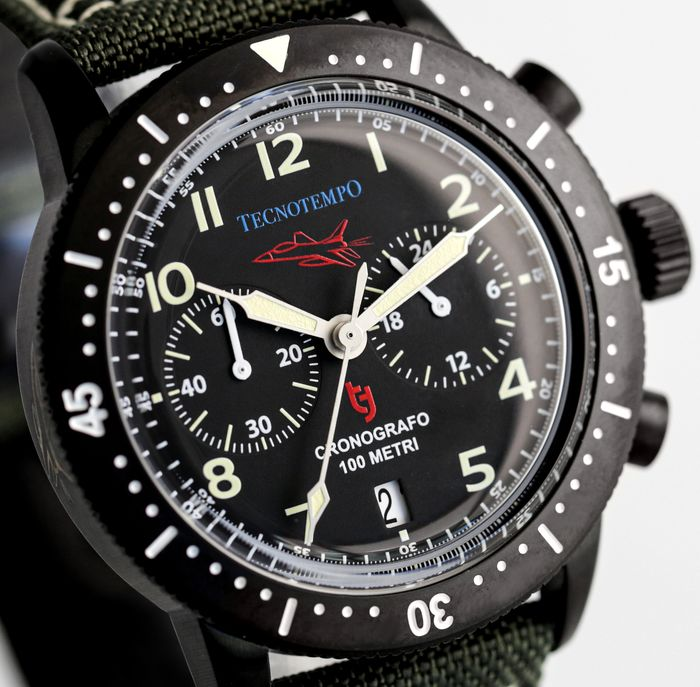 """Tecnotempo - - NO RESERVE PRICE - - Chronograph """"Fighter Pilot Special Edition"""" - Limited Edition 100PCS - - TT.100.QAT (All Black) - Uomo - 2021"""