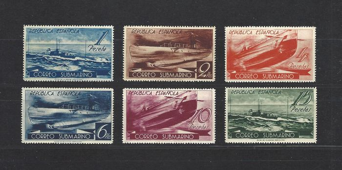 Espagne 1938 - Submarine post complete set, well centred - Edifil 775/780