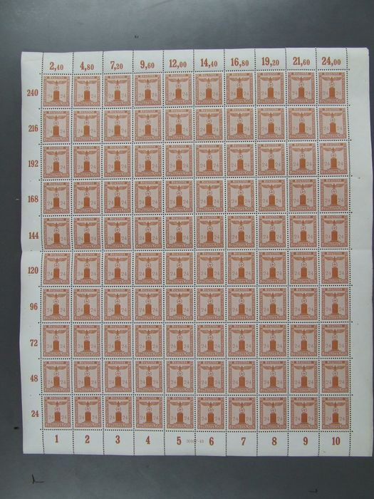 Duitse Rijk - 1942 – 24 pfennigs official stamp with horizontal gum ribbing in complete sheet – Michel no. 163 y