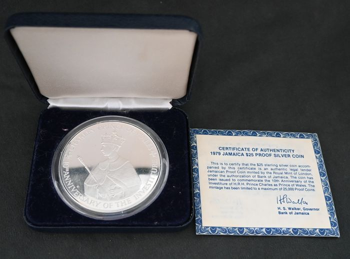 Jamaica. 25 Dollars 1979 Proof '10th Anniversary - Investiture of Prince Charles'